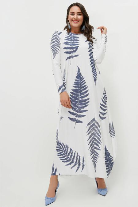 Alia Ekru İndigo Desenli Elbise