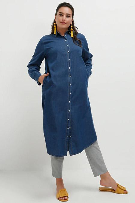 Alia Koyu Mavi Doğal Kumaşlı Çıtçıtlı Kot Tunik
