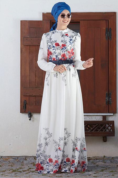 An-Nahar Beyaz Gülru Elbise