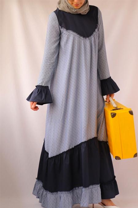 BAAB by melike&rana Lacivert Puantiyeli Elbise