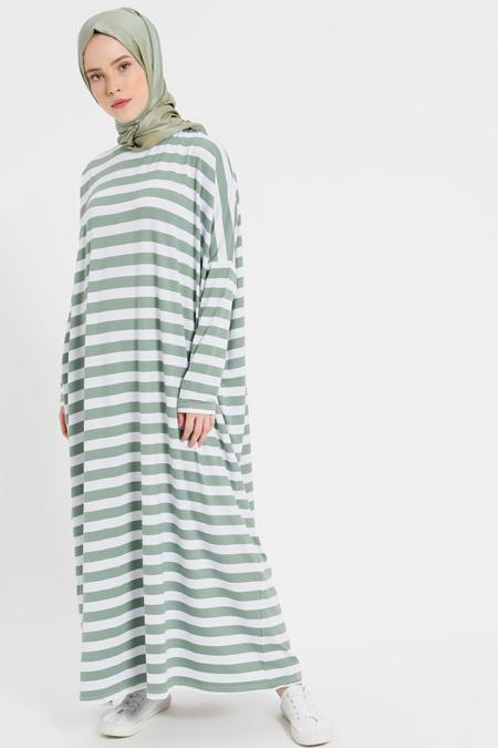 Benin Açık Haki Çizgili Salaş Elbise