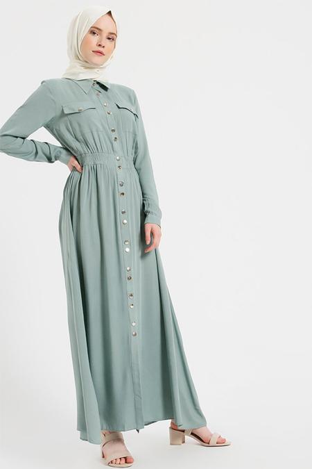 Benin Açık Haki Doğal Kumaşlı Boydan Çıtçıtlı Elbise