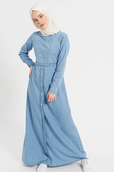 Benin Açık Mavi Doğal Kumaşlı Kot Elbise