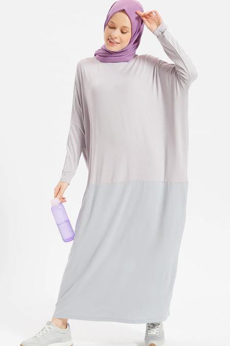 Benin Lila Doğal Kumaşlı Garnili Elbise