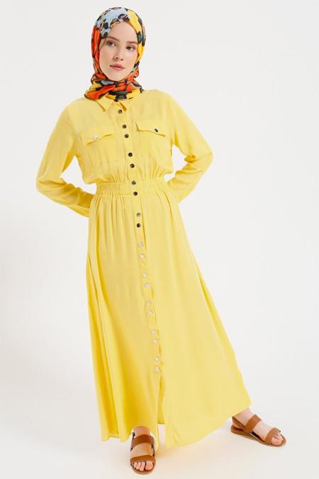 Benin Limon Sarısı Doğal Kumaşlı Boydan Çıtçıtlı Elbise