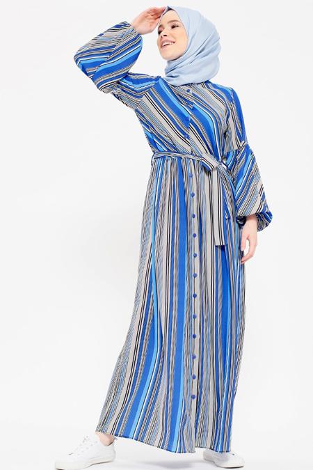 Benin Mavi Çizgili Elbise