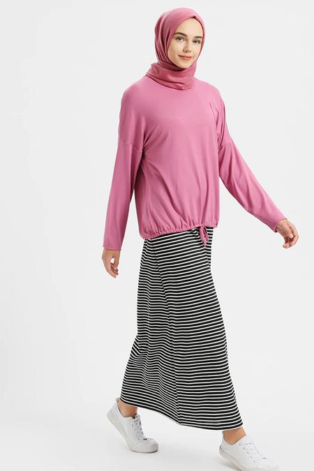 Benin Pembe Kolsuz Elbise & Bluz İkili Takım