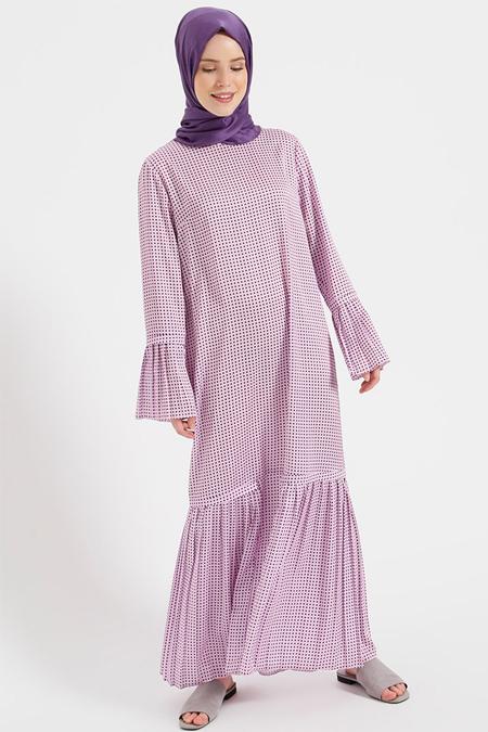 Benin Pembe Pile Detaylı Puantiyeli Elbise