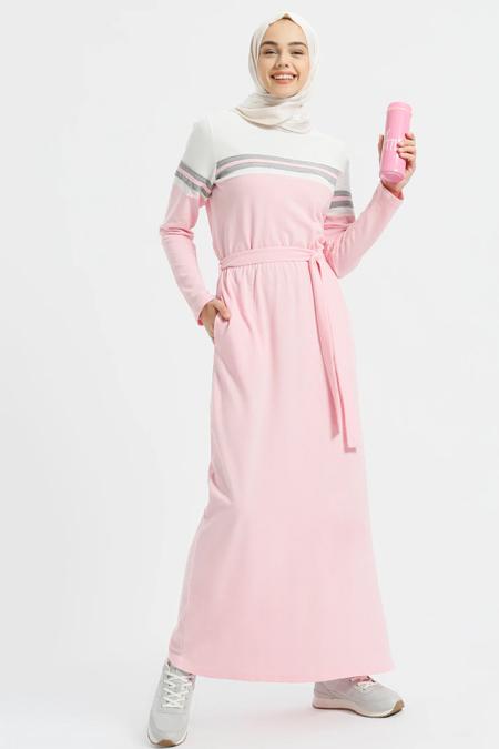 Benin Pudra Doğal Kumaşlı Beli Lastikli Elbise
