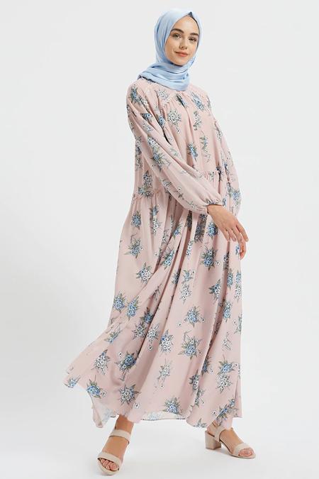 Benin Pudra Güpür Detaylı Salaş Elbise