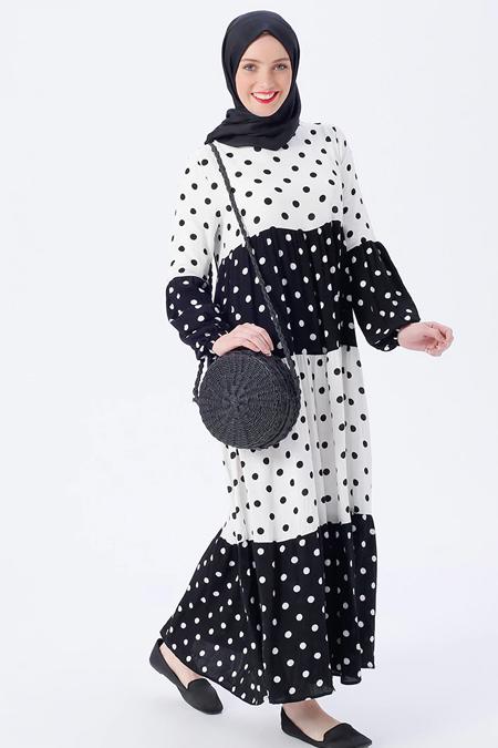 Benin Siyah Doğal Kumaştan Puantiyeli Elbise