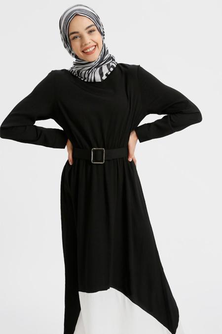 Benin Siyah Kemerli Elbise