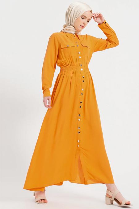 Benin Turuncu Doğal Kumaşlı Boydan Çıtçıtlı Elbise