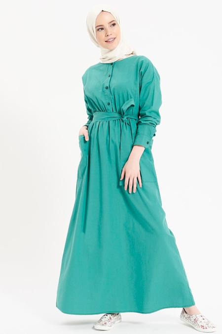 Benin Yeşil Doğal Kumaşlı Beli Lastikli Elbise