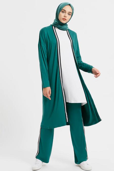Benin Yeşil Doğal Kumaşlı Hırka&Pantolon İkili Takım