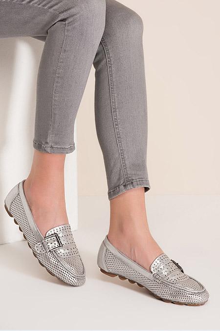 Elle Shoes Gümüş Kadın Loafer Ayakkabı