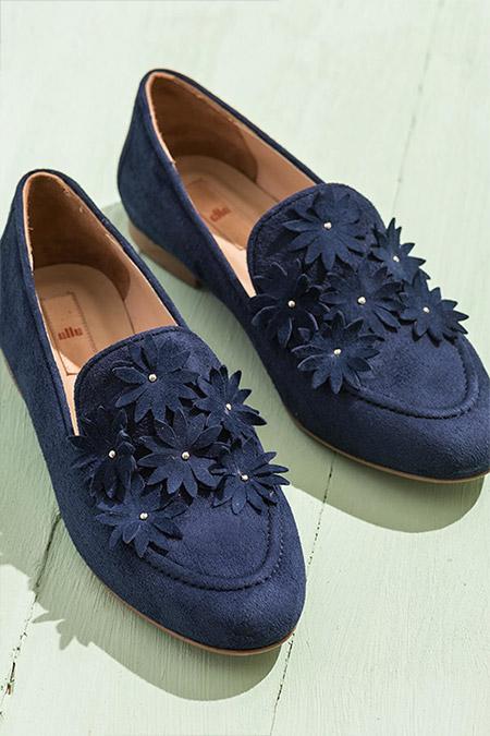 Elle Shoes Hakiki Deri Lacivert Kadın Ayakkabı