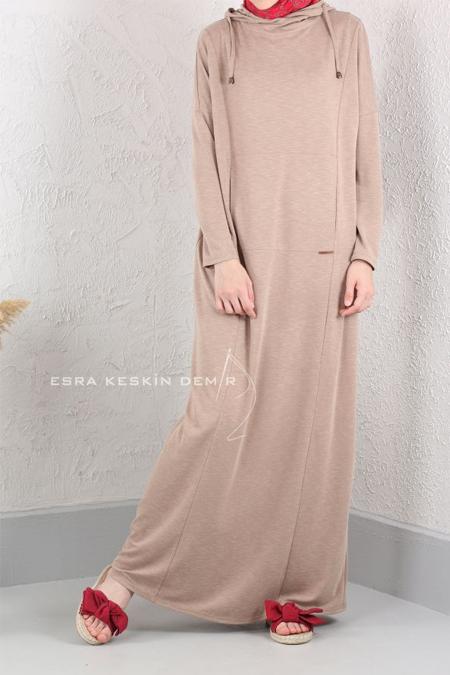 Esra Keskin Demir Bej Kapüşonlu Elbise