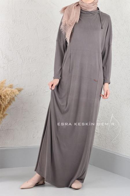 Esra Keskin Demir Füme Kapüşonlu Elbise