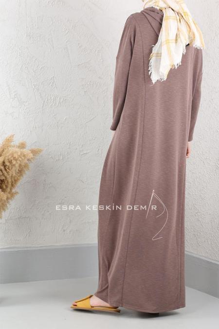 Esra Keskin Demir Vizon Kapüşonlu Elbise