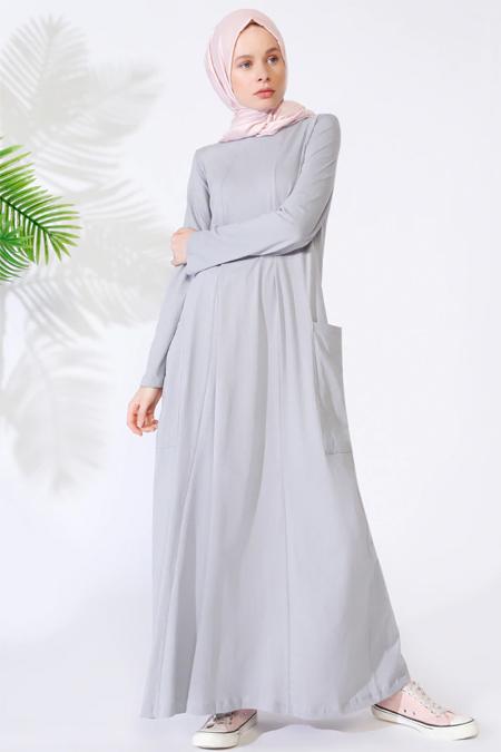 Everyday Basic Açık Gri Doğal Kumaşlı Cepli Elbise