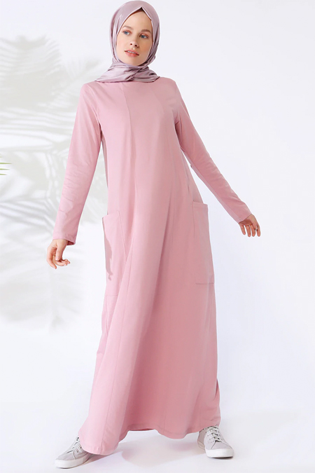 Everyday Basic Gül Kurusu Doğal Kumaşlı Cepli Elbise