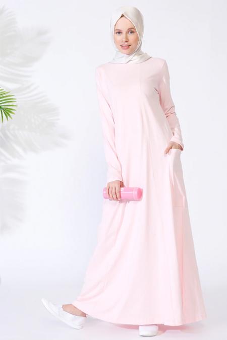 Everyday Basic Pudra Doğal Kumaşlı Cepli Elbise
