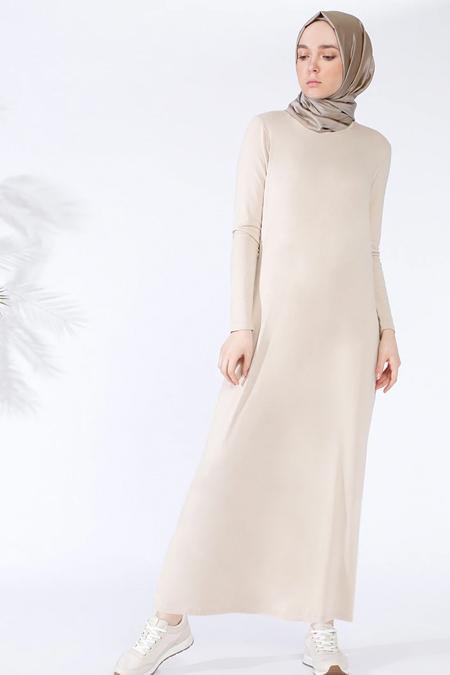 Everyday Basic Taş Doğal Kumaştan Basic Elbise