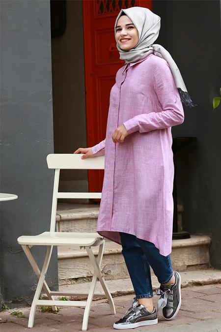 Gamze Özkul Açık Bordo Düz Renkli Tunik