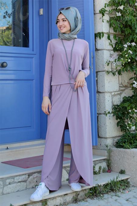 Gamze Özkul Lila Dina Pantolon & Tunik İkili Takım