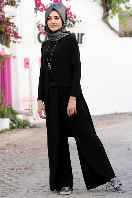 Gamze Özkul Siyah Dina Pantolon & Tunik İkili Takım