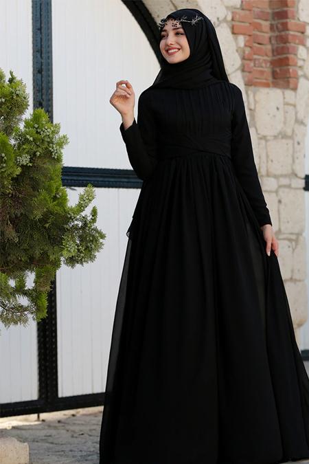 Gamze Özkul Siyah Henna Abiye Elbise