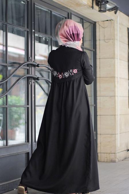 Gestuel Design Siyah Arkası Nakışlı Elbise