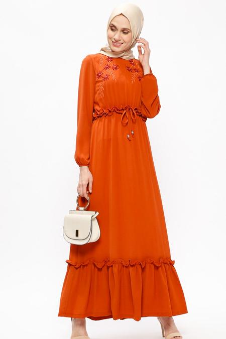 Ginezza Kiremit Nakışlı Elbise