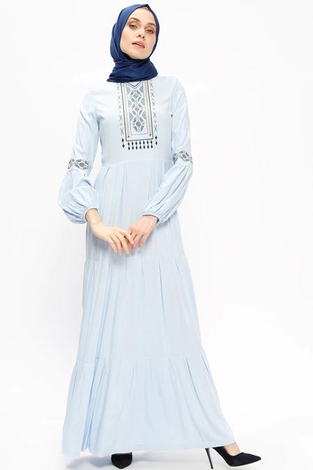 Ginezza Mavi Nakışlı Elbise