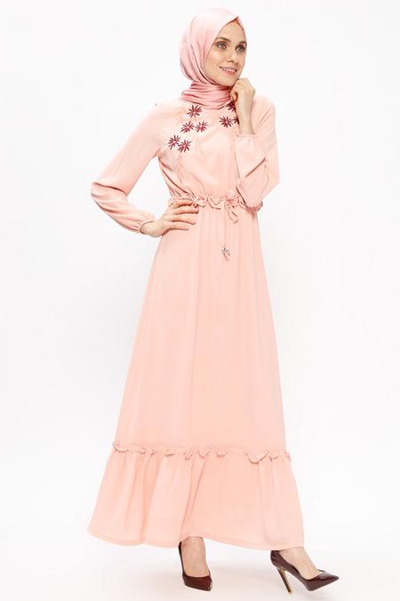 Ginezza Pudra Nakışlı Elbise