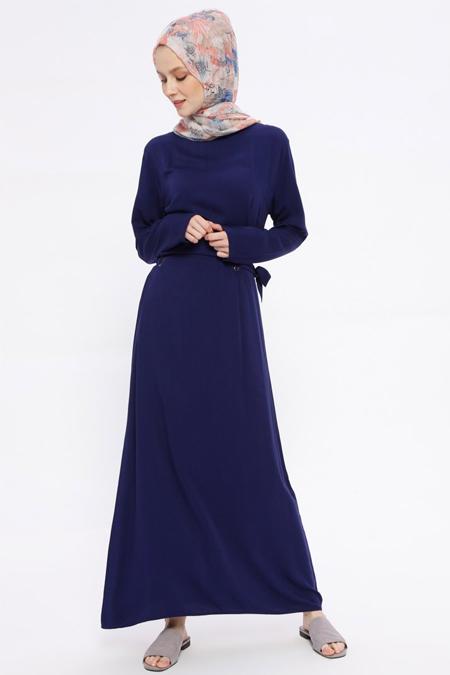 İLMEK TRİKO Lacivert Kuşgözü Detaylı Elbise