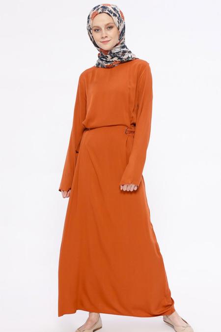 İLMEK TRİKO Taba Kuşgözü Detaylı Elbise
