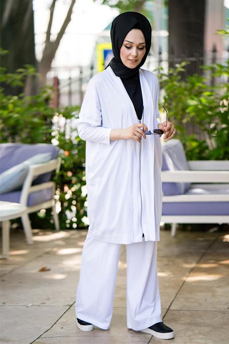 İnşirah Beyaz Kap & Tunik İkili Takım