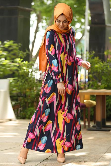 İnşirah Lacivert Çiçek Desenli Elbise