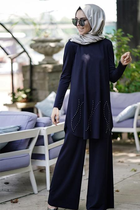 e7b18ec8ba97f İnşirah Lacivert İnci Detaylı Tunik & Pantolon İkili Takım Online ...