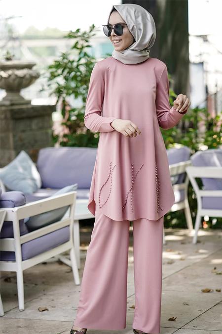 İnşirah Pudra İnci Detaylı Tunik & Pantolon İkili Takım