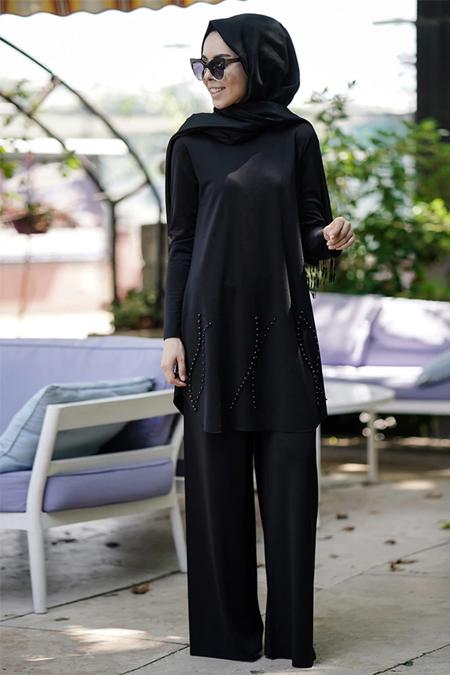 İnşirah Siyah İnci Detaylı Tunik & Pantolon İkili Takım