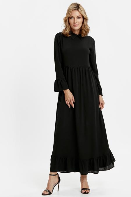 LC Waikiki Siyah Volanlı Uzun Elbise