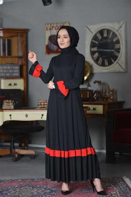 MarwaStoreCo Siyah Garnili Volanlı Elbise