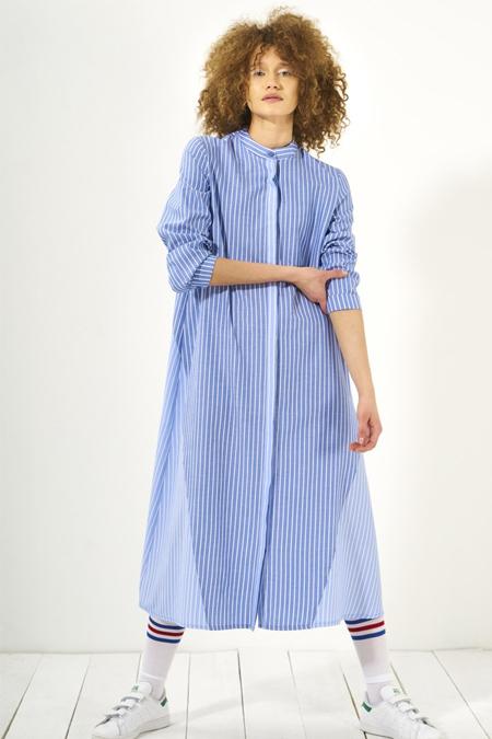 Mevra Açık Mavi Koyu Mavi İki Renk Garnili Elbise