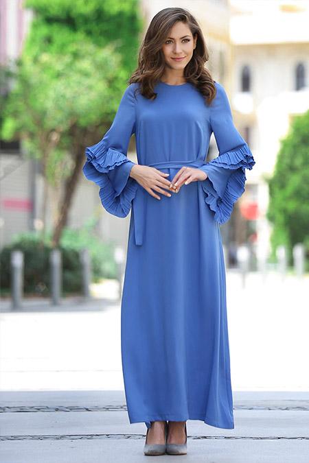 Minel Aşk İndigo Pilise Detaylı Abiye Elbise