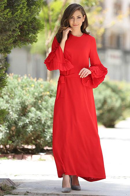 Minel Aşk Kırmızı Pilise Detaylı Abiye Elbise