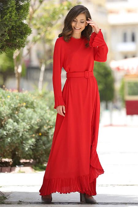 Minel Aşk Kırmızı Piliseli Abiye Elbise