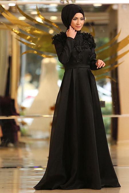 Minel Aşk Siyah Çiçekli Abiye Elbise